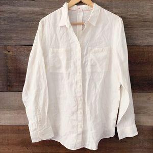 Boden White Gold Metallic Linen Button-Up Shirt